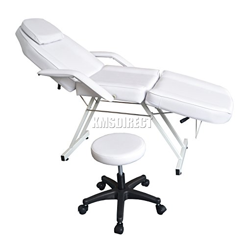 WestWood Beauty Salon Chair Balance Massage Table Tattoo Facial Pedicure Therapy Couch Bed with Stool SBS-01 White