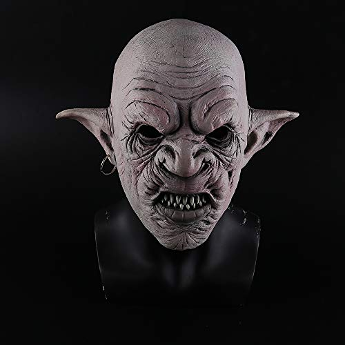Coole Goblins Maske mit Ohrringen Halloween Horror Maske Gruselige Kostümparty Cosplay Requisiten Männer Latex Gruselige Maske