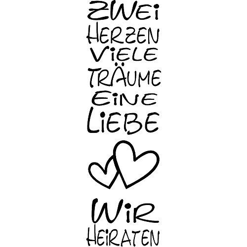 Rayher 2806100 Holzstempel, Zwei Herzen, Viele Träume, 4 x 12 cm, Text mit Aussagekraft, zum Gestalten von Hochzeitskarten, Schrift-Stempel, aus Ahornholz, Stempelplatte Naturkautschuk