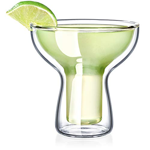 Dragon Glassware Margarita Glasses Insulating Double Walled Bar Glasses 12Ounce Set of 2