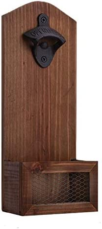 Bottle Opener Vintage Wooden Wall Mounted Beer Opener with Caps Catcher Perfect tool can apply product image