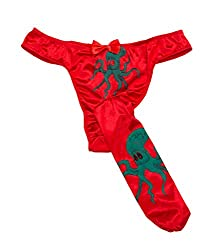 Red panties with octopus pattern. G-strings with long pouch.