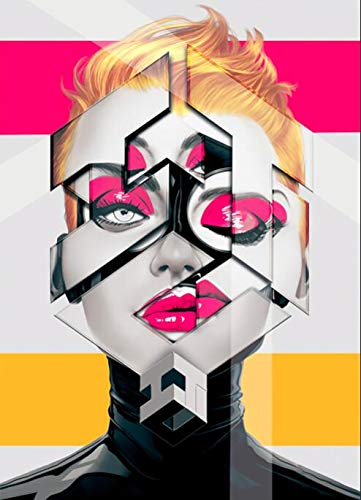 Carteles e impresiones abstractos decorativos modernos de retrato dividido de bad girl arte de la lona pinturas decorativas sin marco en la pared pinturas de arte en la sala de estar A386 50x70cm