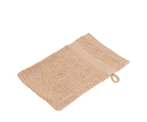 Gözze, lot de 4 gants de toilette marron, 17x24 cm , 100% coton, excellente qualité 550 g/m², moelleux et utra doux Standard 100