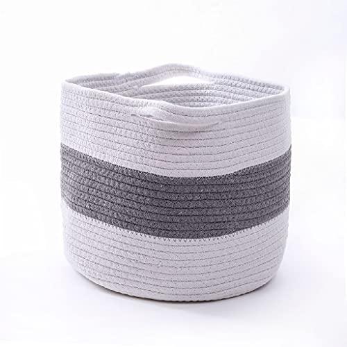 ZAIZAI Cesta de Almacenamiento Grande Cesto de lavandería de Cuerda de algodón Tejido con Asas Dobles para Almacenamiento de Ropa de pañales en el hogar