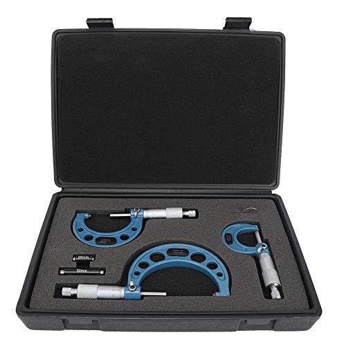 Desconocido Anytime Tools Premium Micrómetro Exterior Set, 3Pcs Micrómetro Rodamiento Acero Alta precisión Herramienta de medición de diámetro Exterior Herramienta de maquinista de 0-75 mm