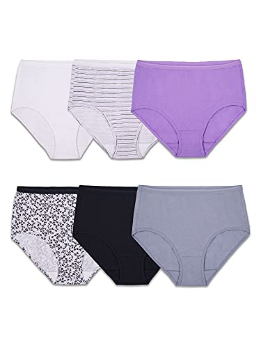 Fruit of the Loom Women's Cotton Brief Panties, Large / 7, Assorted, (Pack of 6)