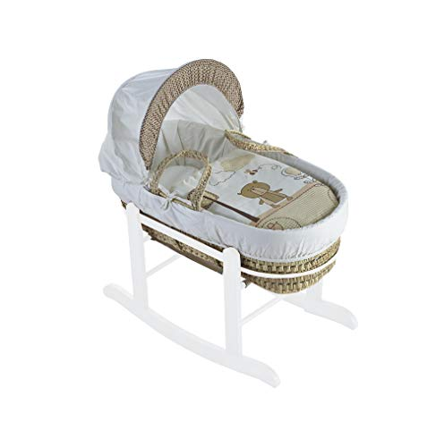 Beary Nice Cream Palm Moses Basket & Deluxe White Rocking Stand