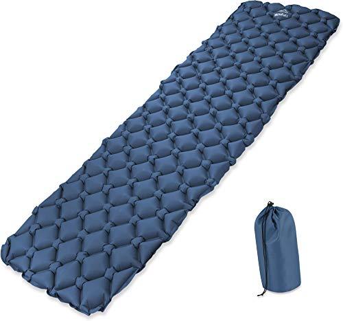 normani Schnell aufblasbare Camping Isomatte - Ultraleicht, kleines Packmaß, hoher Komfort - Schlafmatte für Outdoor, Camping, Hiking, Reisen oder Strand - mit oder ohne Kissen wählbar Farbe Blau