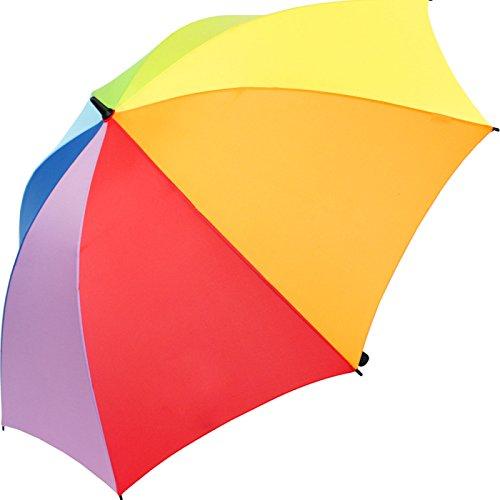 iX-brella Leichter Voll-Fiberglas- Regenschirm für 2 Personen XXL (Regenbogen)