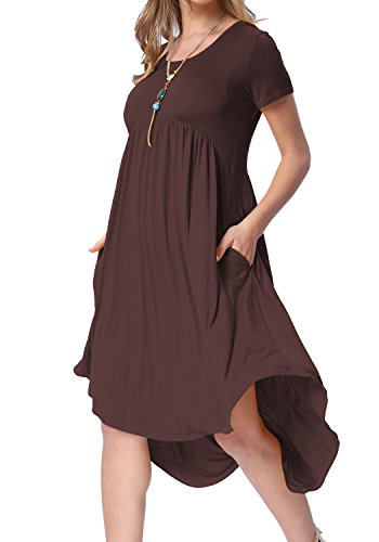 levaca Womens Short Sleeve Pleated Loose Fit Casual Dress with Pockets Coffee XXL