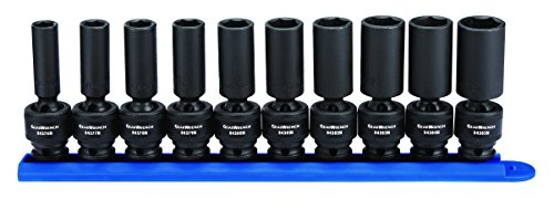 GEARWRENCH 10 Pc. 3/8' Drive 6 Pt. Deep Universal Impact Socket Set, Metric - 84924N