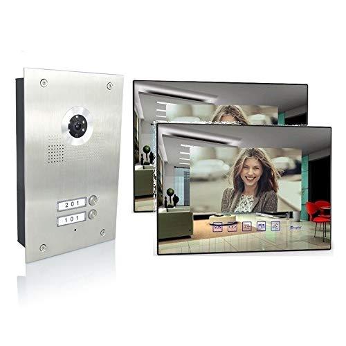 2 Familienhaus Video Türsprechanlage 7'' Monitor Kamera 170° Edelstahl, Monitore in Glas, Farbe: Ohne, Größe: 2x7'' Monitor Spiegel ohne WLAN Außenstation Silb