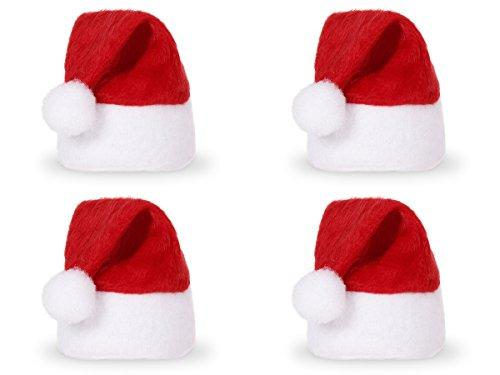 Lot de 4 Mini bonnet de noel couvre-oeufs (wm-133) pour les maintenir bien chaud Sur la table de fête , devant l'assiette de chaque invité, sur une bouteille...ou à suspendre sur votre sapin ou à accrocher sur vos décorations de Noël Hauteur totale environ 10 cm. Diamètre environ 5 cm rouge blanc