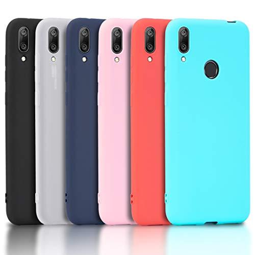 Wanxideng - 6x Cover Huawei P Smart Z, Custodia Morbido Opaco in Silicone TPU - Matt Silicone Case [ Nero + Rosso + Blu Scuro + Rosa + Verde Menta + Traslucido ]