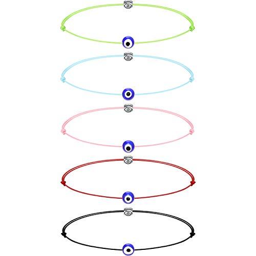 Hicarer 5 Stücke Böser Blick Armband Good Luck Armband Kabbala Charm String Freundschaftsbänder Schmuck für Frauen Männer