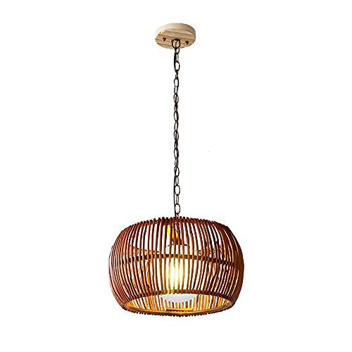 TTKDD Lámpara Colgante de Linterna de bambú Natural, Estilo Retro japonés E27, lámpara de Techo con Pantalla de Mimbre, lámpara Colgante, para Tatami, Sala de Estar, Comedor, Restaurante, casa de té,