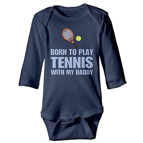 Born to Play Tennis Fashion Unisex Baby Romper Long Sleeve Clothes