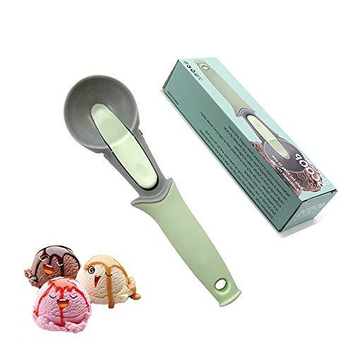 YUX Ice Cream Scoop Cuchara de helado de plástico con gatillo Manija cómoda para galletas, Agua, Melón, Gadgets de cocina, Verde