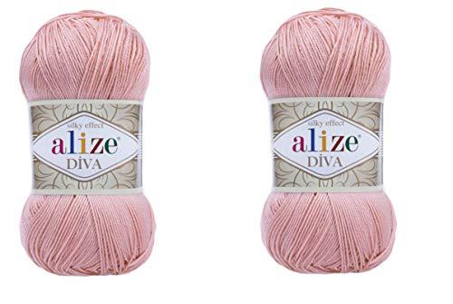 Alize Diva Seideneffekt, 100 % Mikrofaser-Acrylgarn, Häkelgarn, Handarbeit, 2 Knäuel, 200 g 363
