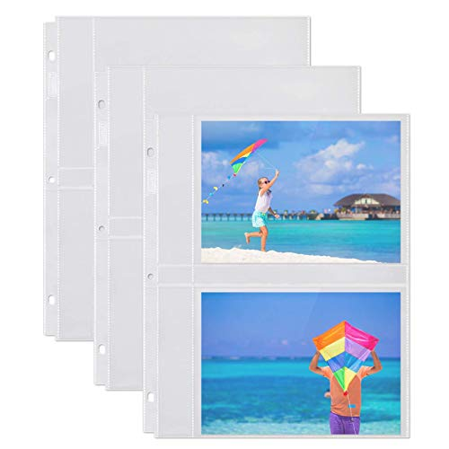 """Dunwell 5x7 Photo Sleeve Inserts - (5x7, 10 Pack), for 40 Photos, Crystal Clear Photo Pockets for 3-Ring Binder, Photo Album Refillable Page Inserts, Each Page Holds Four 5 x 7"""" Pictures, Postcards"""