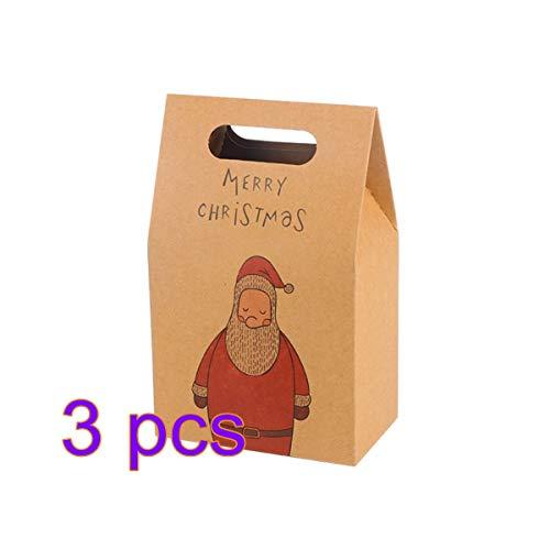 KEKEDA Santa Kraft boodschappentassen - papieren geschenktassen verpakking geschenktassen kerstfeest huwelijk snoepjes koekjes zakken