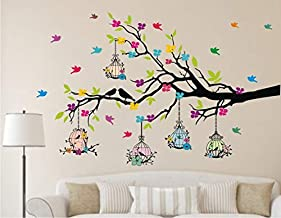 Heaven Decors -Tree Branches with Birdcage and Flower- Wall Decoration Sticker Home ( Ideal Size on Wall: 127 cm x 80 cm )...