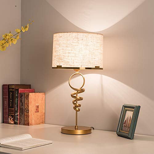 Lámpara de Mesa Espiral Lámpara de Escritorio Moderno Metal Lámpara de Noche con Interruptor de Cable Luces de Lectura Dentro Decorativo Luz de Mesa, para Cuarto Sala Oficina, Pantalla de Tela