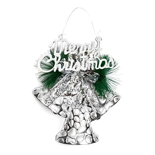 Merry Christmas Silver Bell Holiday Ornament for Xmas Decorations (11.3 x 13.5 in)