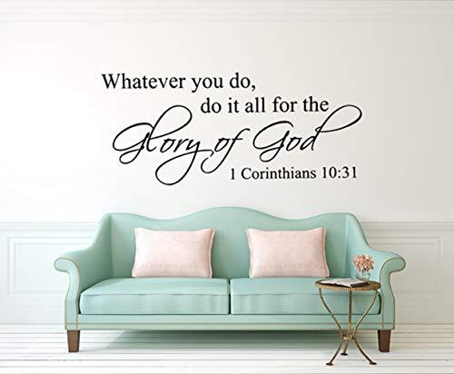 Wandtattoo Schlafzimmer Bibelverse Christian 1 Korinther 10:31 Bibelverse Word Decal für Wohnzimmer Schlafzimmer