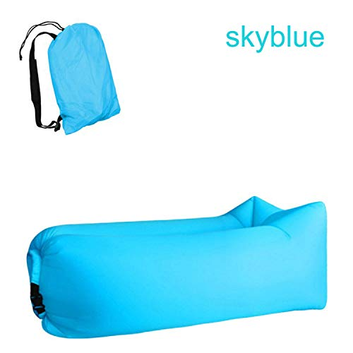 Goodforyou21 Light Sleeping Bag Waterproof Inflatable Bag Lazy Sofa Camping Sleeping Bags Air Bed Adult Beach Lounge Chair Fast Folding,Sky Blue