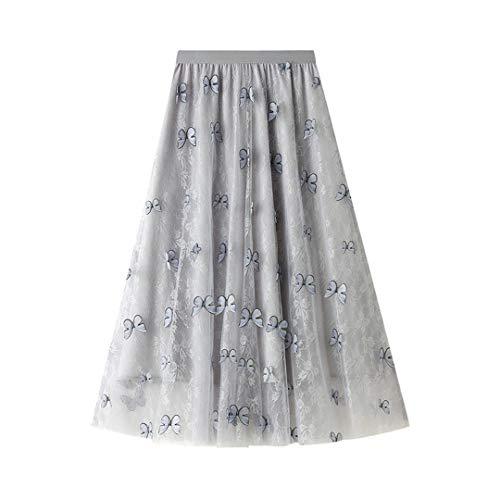 Decoración de Mariposa Mujeres Falda Larga Negro Azul Pink Bonita Tul Tulle Tallo Muchacha Una línea Faldas Gray One Size