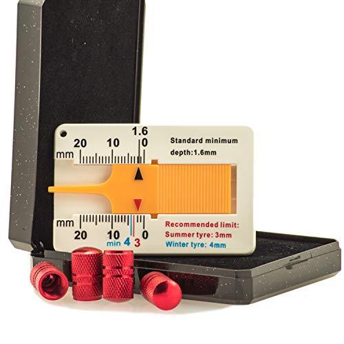 FLYBY Hochwertiges Aluminium Reifen Ventilkappen Set 4 Stück Profiltiefenmesser einfache Montage Eintragung Frei (Rot)