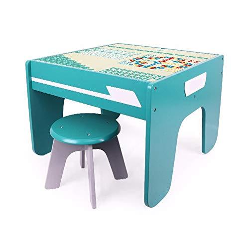 Bloc De Construction Table De Jeu Table en Bois for Enfants Multi-Fonction Granule Bébé Assemblé Jouet Table Early Education Puzzle Table 3-6 Ans (Couleur : Bleu, Taille : Big)