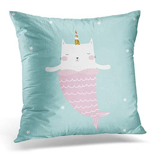 Awowee Funda de cojín de 45 x 45 cm, diseño de sirena con unicornio dorado brillante cuerno de unicornio para niños con estampado de camisetas, dibujado a mano, decoración del hogar, funda de cojín para sofá o silla