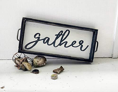 43LenaJon GATHER houten dienblad, TV tray, keukenblad, houten bord, rustiek, boerderijstijl, housewarming geschenk, zwart frame