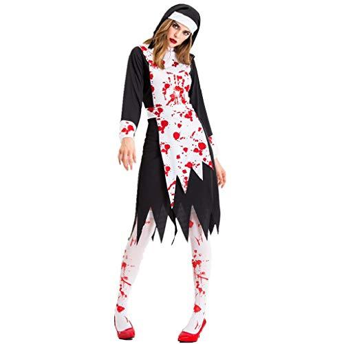 TcooLPE Frauen Cosplay Kostüme, New Halloween Schwarz Gaze Hexe Kostüm, Temperament Hexe Ghost Game Anzug Königin Anzug withWomen's Skull Printed Hexe Plus-Size Kleid Halloween Cosplay Party Jumpsuit