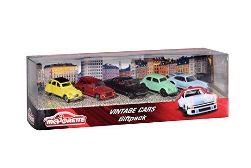 Majorette Vintage 5er-Geschenkset, Spielzeugautos mit Freilauf aus Metall, Vintage-Versionen von Ford, Porsche, Renault und VW, bewegliche Teile, 7,5 cm