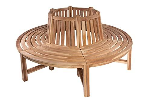 SAM Baumbank Timo, 360° kreisrunde Gartenbank, Teakholz massiv, Holzbank aus Massivholz, Sitzbank für den Garten, Durchmesser 180 cm, komplette...