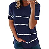 Camisas Blusas de Mujer Tallas Grandes Manga Corta, Deportivo Nuevo Verano Camiseta Blusa Casual Basica Cómodo Camiseta Larga con Cuello Redondo Suelto Fiesta T-Shirt Original Tops(G Armada,5XL)