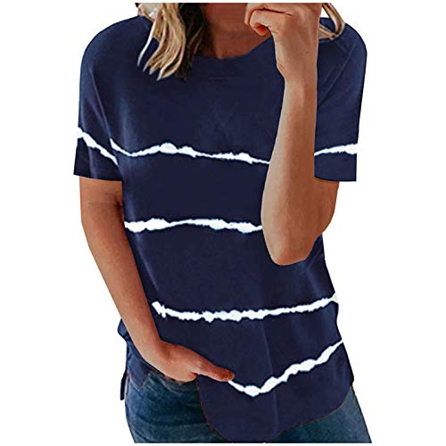 Plus Size Tops for Women Casual T Shirts Fashion Stripe Stitching Print Short Sleeve Round Neck Tee Ladies Tunic Top Loose Fit Blouse Womens Sweatshirt Pullover