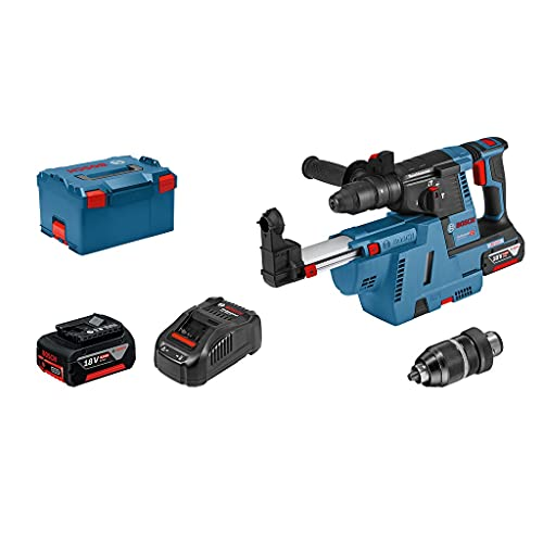 Bosch Professional 18V System Akku Bohrhammer GBH 18V-26 F (2x6.0Ah GBA 18V Akku, Schnellladegerät, Schnellwechselbohrfutter, Wechselfutter SDS plus, GDE 18V-16, L-BOXX 238)