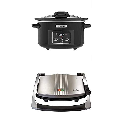 Breville Sandwich/Panini Press and Toastie Maker, 3-Slice + Serve Digital Slow Cooker with Hinged Lid and Programmable Countdown Timer, 4.7 Litre