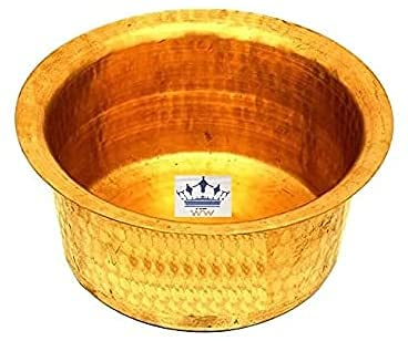 Will and Weaves Indian Traditional Kitchen Utensil Brass Patila Tope Cooking Topia Bhaguna Pots & Pan Capacity 1 Liter