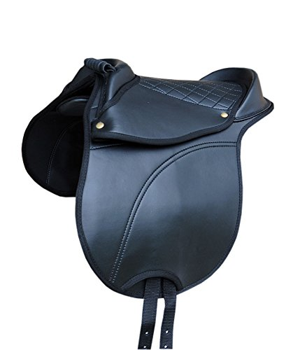 Ponies Shetland Pony Saddle Hide Covered Pony Pad with Handle Adjustable Saddle Cushion, also suitable for wooden model also for Wooden Horse/Equestrian Horse Cub Saddle