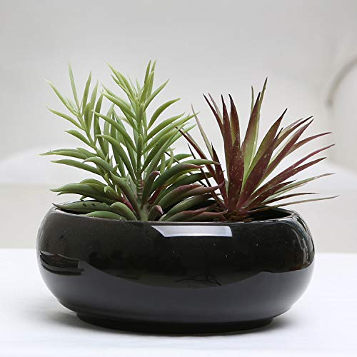 MyGift 8.75 Inch Round Black Ceramic Succulent Planter with Drainage Hole, Decorative Flower Plant Pot