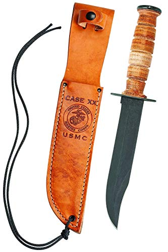 CASE XX WR Pocket Knife USMC Grooved Leather Knife Cv W/Leather Sheath Item #334 - (USMC) - Length: Inches