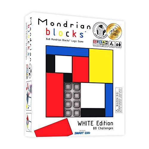 Mondrian Blocks premiado rompezabezas, Juego de Viaje Compacto a Bordo, Edición Blanca