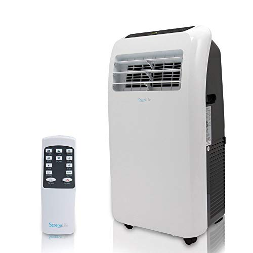 Portable Electric Air Conditioner Unit - 1150W 12000 BTU Power Plug In AC Indoor Room Conditioning System w/ Cooler, Dehumidifier, Fan, Exhaust Hose, Window Seal, Wheels, Remote - SereneLife