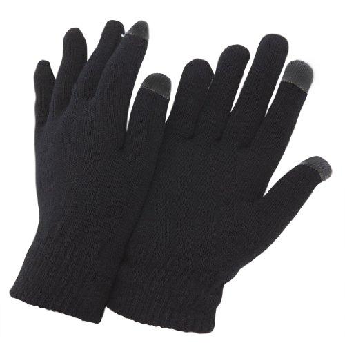 Gants d'hiver magiques pour homme, pour usage d'iPhone/IPads et écran tactile (Taille unique) (Noir)